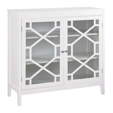 Linon Home Decor Products - MDF Tempered Glass Cabinet, White - Accent Chests and Cabinets