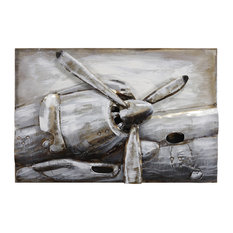 """""""Retro Airplane Propeller"""" Mixed Media Iron Hand Painted Dimensional Wall Art"""