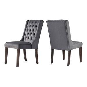 Rosalyn Velvet Wingback Button Tufted Hostess Chair, Set of 2, Dark Grey