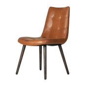 Havana Tufted Dining Chair, Brown Leather