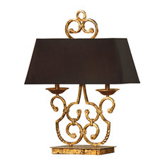 Charleston Gold Leaf And Antique Black Iron Twin Light Table Lamp