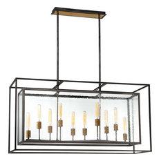 Affilato Seeded Glass 10-Light Chandelier, Black