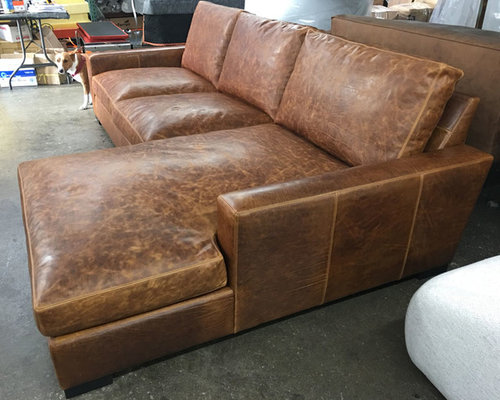 Marvelous Braxton RAF Sofa Chaise Sectional In Italian Brentwood Tan Leather    Sectional Sofas