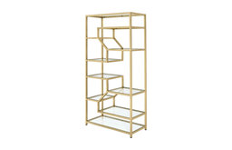 Lecanga Glass Bookcases, Gold