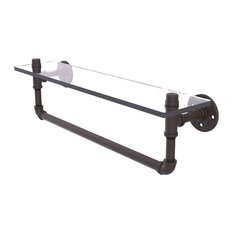 "Pipeline Collection 22"" Glass Shelf With Towel Bar, Oil Rubbed Bronze"
