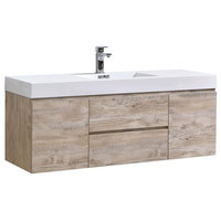 "Bliss 60"" Single Sink Wall Mount Bathroom Vanity, Nature Wood"