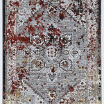 Linon Home D�cor Products - Parcel Harlo Rug, Gray, 2'x3' - The Parcel Collection offers a distressed vintage twist on classic designs.  These rugs features shrink yarns in the pile to give the appearance of height to a flat pile.  The distressed nature of the designs allows the normally traditional looks to take on more of a transitional feel when paired with the modern grey color palette.  These rugs are 100% Polyester and Power Loomed in Turkey.