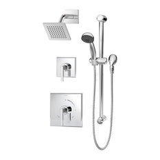 Duro 2-Handle Square Shower Faucet Trim With Hand Shower, Chrome