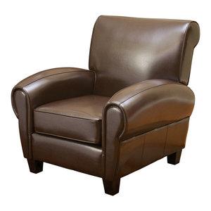 GDF Studio Ridgemark Chocolate Brown Leather Club Chair