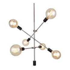 Woodbridge Lighting Reese 6-Light Pendant Chandelier, Antique Nickel, Black