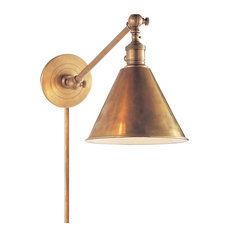 E. F. Chapman Boston 1 Light Swing Arm or Wall Lamp in Hand-Rubbed Antique Brass