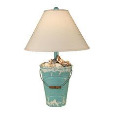 Coast Lamp Mfg.   Coast Lamp Coastal Living Bucket Of Shells Table Lamp,  Turquoise