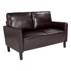 Washington Park Upholstered Loveseat Brown Leather