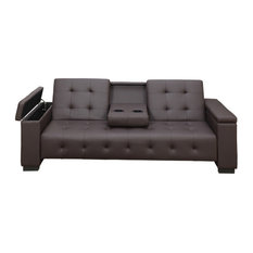 Faux Leather Adjustable Sofa With Dropdown Console, Espresso Brown