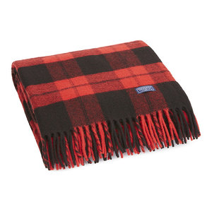 Bison Check Wool Throw, Red, Black