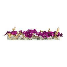 """Phalaenopsis Orchid With Natural Wood in 48"""" Aquarium Vase, Fuschia"""