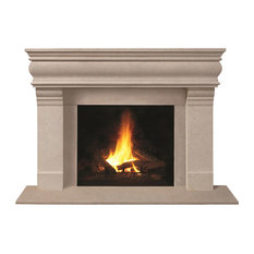 Fireplace Stone Mantel 1106.556 With Filler Panels, Buff, With Hearth Pad