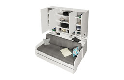 Compact Sofa and Cabinets Wall System, White, Without Mattress Cover and 2pcs Cu