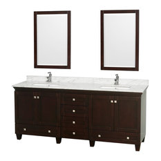 "Wyndham Collection 80"" Acclaim Espresso Double Vanity With White Porcelain Sink"