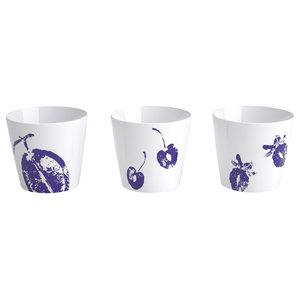 Botanical Print Ceramic Cups, Set of 3