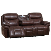 Hydeline Summerlands II Power Headrest Leather Reclining Sofa, Brown