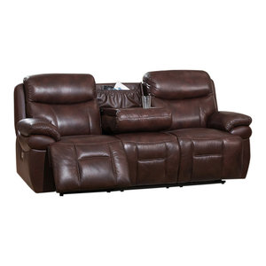 Outstanding Gdf Studio Everette Brown Leather Power Recliner With Arm Pdpeps Interior Chair Design Pdpepsorg