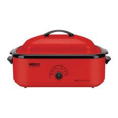 """Nesco 18 qt. Chrome Red Porcelain Roaster Oven, 12x15x23.5"""""""