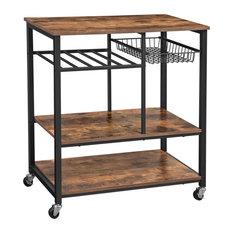 Industrial Baker's Rack With Wheels, Great Storage Space, Rustic Brown