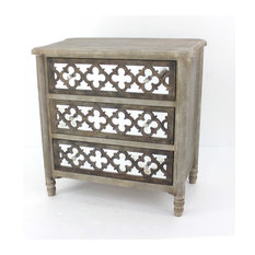 Homeroots Furniture Art Deco Wooden Mirror Cabinet With 3-Drawer