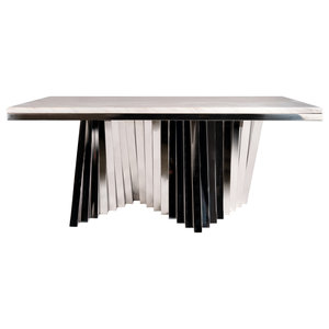Steve Silver Claire Rectangular Dining Table In White Marble Cr540t Industrial Dining Tables By Gwg Outlet