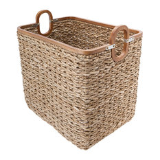 Rectangular Handwoven Storage Basket in Twisted Sea Grass with Wood Frame