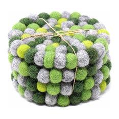 Felt Ball Coasters, Set of 4, Greens