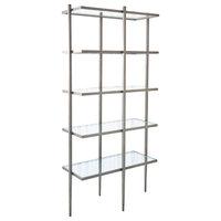 Minimalist 5 Shelf Natural Iron Etagere Book Shelves Open Gray