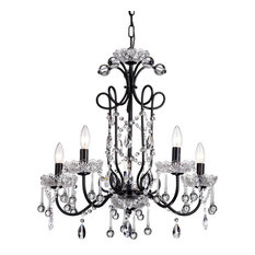 5-Light Black Vintage Crystal Glam Lighting Chandelier