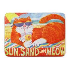 Orange Tabby At The Beach Machine Washable Memory Foam Mat