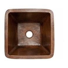 """15"""" Square Copper Bar/Prep Sink W/ 2 Drain"""