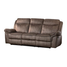Hefx Furniture Apollo Double Recliner Sofa W Cup Holders Airehyde Dark Brown Leather Sofas