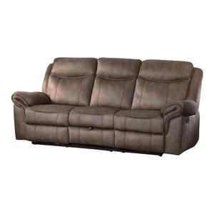Homelegance Wasola Triple Reclining Sofa In Dark Brown
