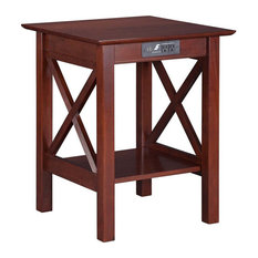 Atlantic Furniture Lexi Charger Printer Stand in Walnut