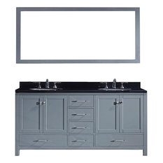 "72"" Double Bathroom Vanity,Grey,Black Galaxy Top,Round Sink,Mirror"
