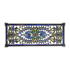 "Meyda 29""x11"" Antoinette Transom Stained Glass Window"