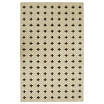 Mohawk - Sahana Scandinavian Cross Rug, White, 7'6x10' - Modern bold black x-shaped crosses add symmetrical style to Mohawk Homes sophisticated Sahana Area Rug, cast in striated shades of cream and neutral beige.  Fabulously finished with Mohawk Homes advanced print technology, the Sahana Area Rug in Gatsby Black and White features sumptuous softness, crisp color clarity and defined details.  Crafted of premium Wear-Dated nylon yarn, this area rug is designed with dependable durability, superior stain resistance and an unbeatable resiliency against every day wear-and-tear.  Even ideal for high traffic areas of the home, simply spot clean with a solution of mild detergent and water as needed.