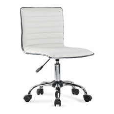 Belleze   Ergonomic Low Back Armless Ribbed Swivel Task Chair, White   Office  Chairs