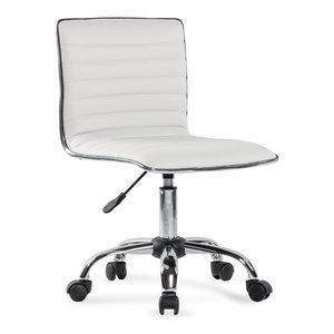 Ergonomic Low Back Armless Ribbed Swivel Task Chair, White