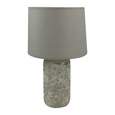 Grey and White Floral Pattern Lamp With Shade