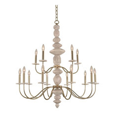 Carrara 2 Tier Chandelier (10+5 Light), Champagne Gold