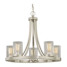 Industrial Chandelier Satin Nickel with Clear Glass 5-Light