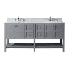 Winterfell Double Bathroom Vanity Cabinet Set, Gray, 72""