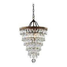 4-light Antique Brass Crystal Chandelier