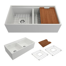 """Contempo Fireclay Farmhouse 36"""" Kitchen Sink With Grid, Strainer, White"""